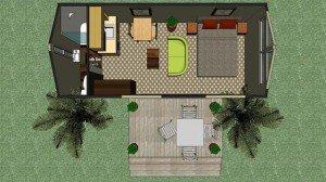 Transportable building villa plans - Ensuite Kitchen Side Deck 7.2 x 2.7m