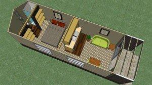 Transportable building villa plans - Ensuite Kitchen incl deck 8.4 x 2.7m