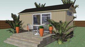 Transportable building villa plans - Open Elevation Deck Modu2